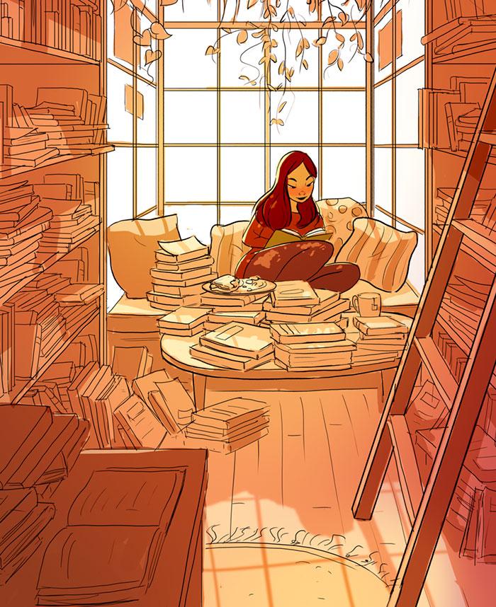 Ilustracoes mostram que morar sozinho pode ser maravilhoso