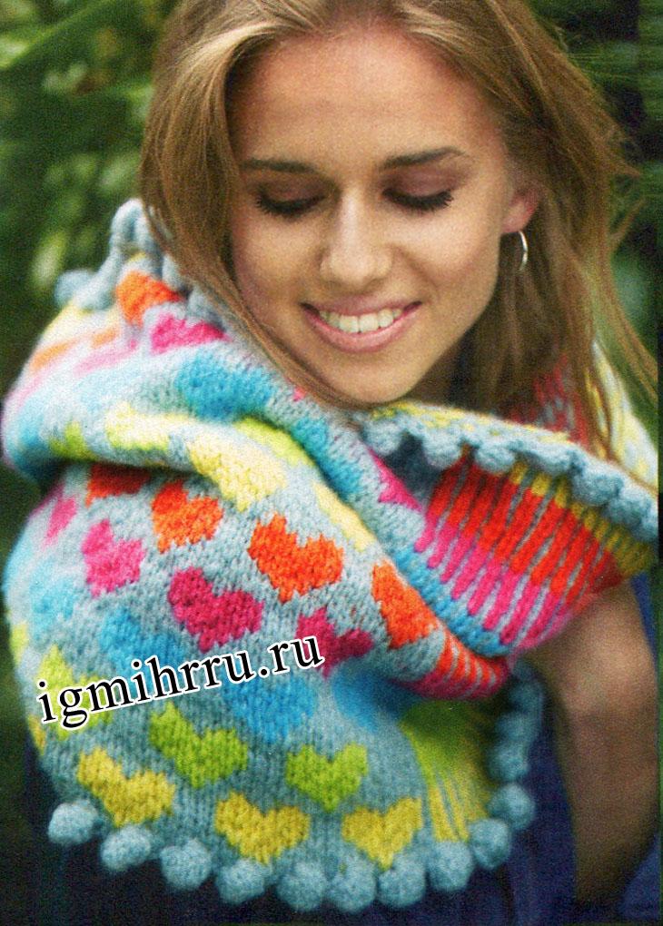 Теплый шарф-воротник с отделкой шишечками. Вязание спицами