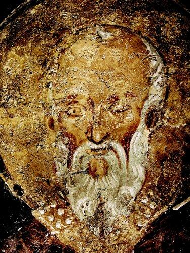 Святой Преподобный Феодор Студит, Исповедник. Фреска церкви Святых Николая и Пантелеимона (Боянской церкви) близ Софии, Болгария. XIII век.