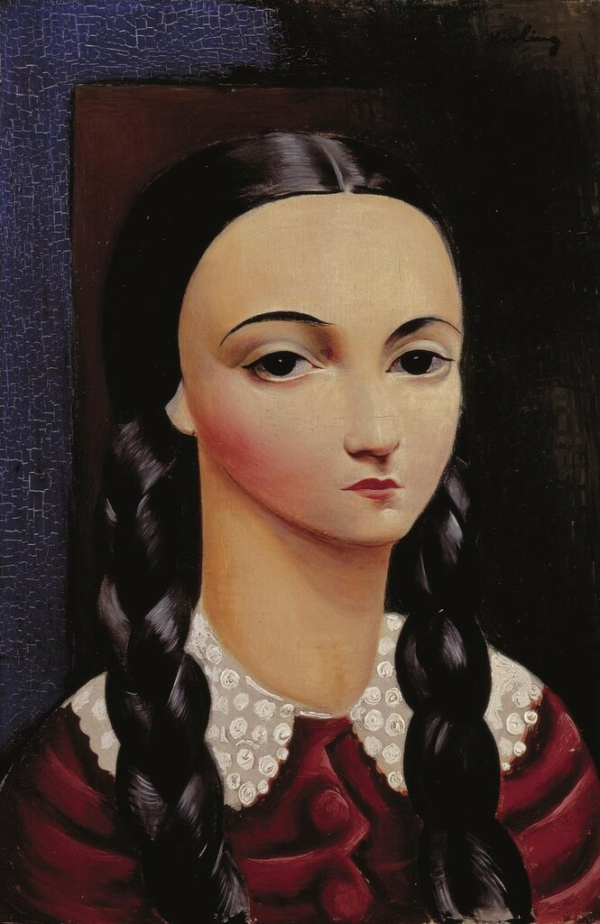 Девочка с косичками. 1930.. 41 х 27 см. масло, холст. Частная коллекция.jpg