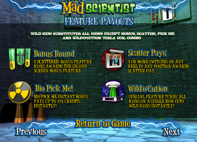 Mad Scientist таблица выплат