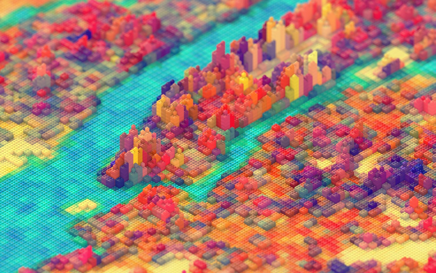 Designer J.R. Schmidt has a great isometric rendering of New York City as built with LEGO bricks whi
