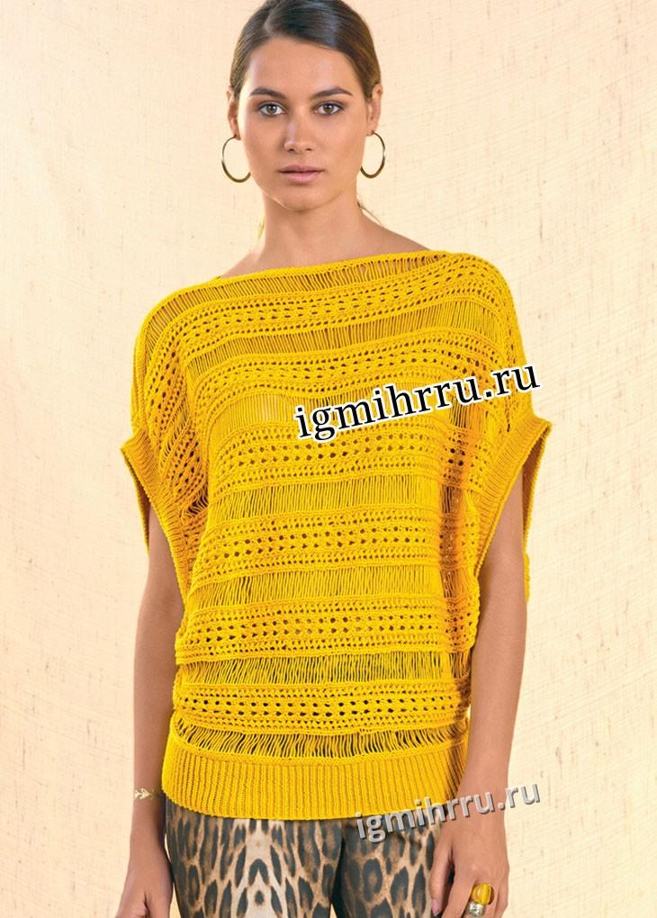 Объемная ажурная туника желтого цвета. Вязание спицами