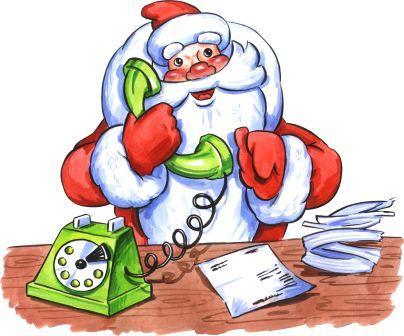 Открытки. День рождения Дедушки Мороза. Дед Мороз разговаривает по телефону открытки фото рисунки картинки поздравления