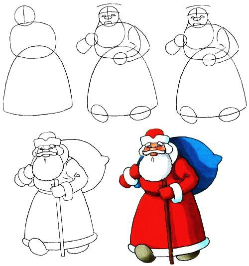 Открытки. День рождения Дедушки Мороза. Рисуем Деда Мороза