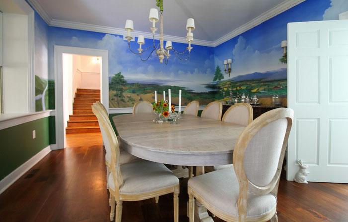 7. Знакомая художница украсила стены столовой пейзажем. Так выглядел Мэриленд лет двести назад.