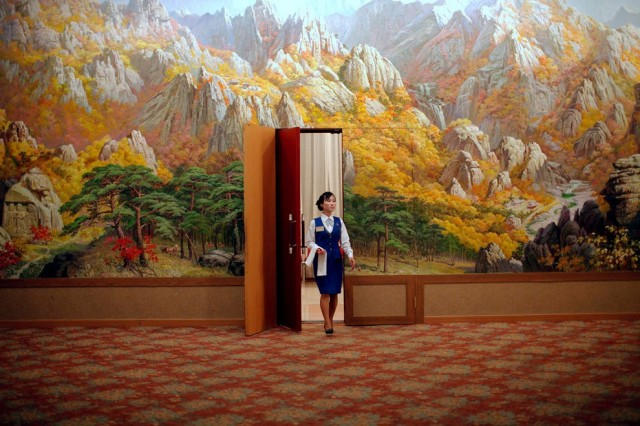 An employee enters a room at a hotel in Mount Kumgang resort in Kumgang September 1, 2011. (Photo by