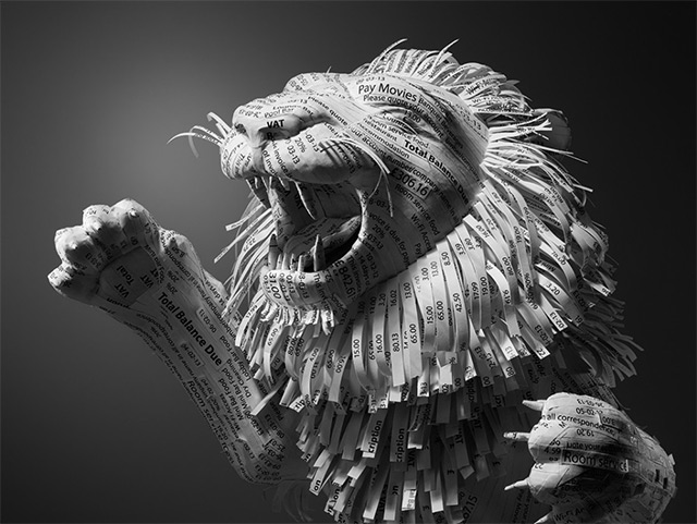 Paper Lion Constructed from Hotel Receipts by Kyle Bean (3 pics)