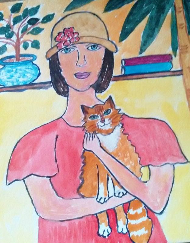 Девушка  и  кот.
