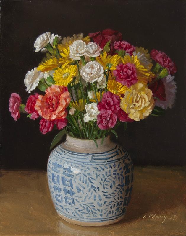 Американская  художница  Youqing (Eugene) Wang:  flowеr-carnation-mums-oriental-pot.
