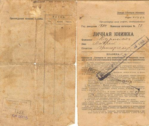 Личная книжка военнообязанного в запасе Курлыкова Андрея Григорьевича (1884 года рождения); 1923 г.,