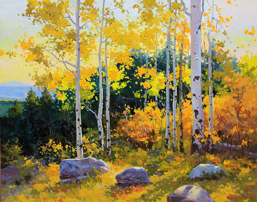 Gary Kim. Sunset Santa-Fe mountain