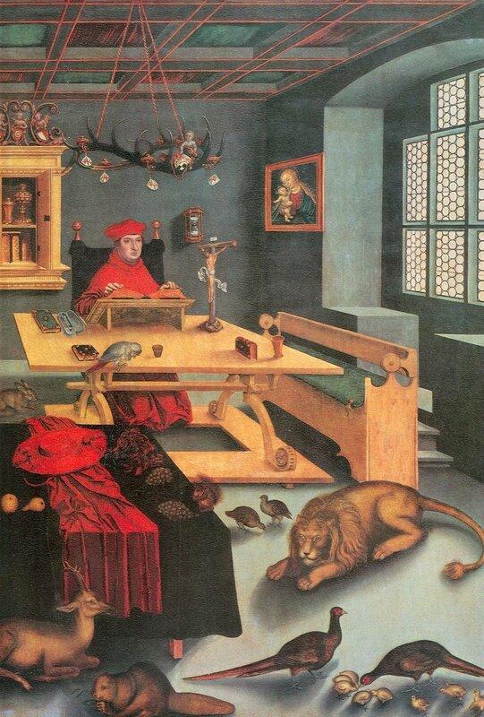 Блаженный Иероним Стридонский Святой Иероним в своей келье, картина Кранаха Старшего.