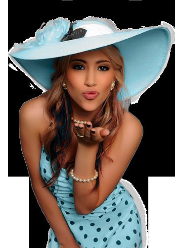 Открытки. 6 июля -день поцелуя! Девушка дарит воздушный поцелуй