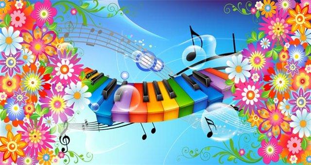 Открытки. 1 октября. Международный День Музыки! Цветы, клавиши, ноты