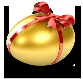 Открытки. С Всемирным днем яйца. Золотое яичко с бантиком