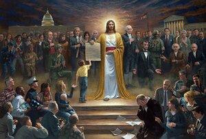 Jon McNaughton. На картине «Виа Долороза» есть такие исторические фигуры, как Адольф Гитлер, Мать Тереза, Иосиф Сталин и многие другие, которые смотрят на преследование Иисуса Христа.