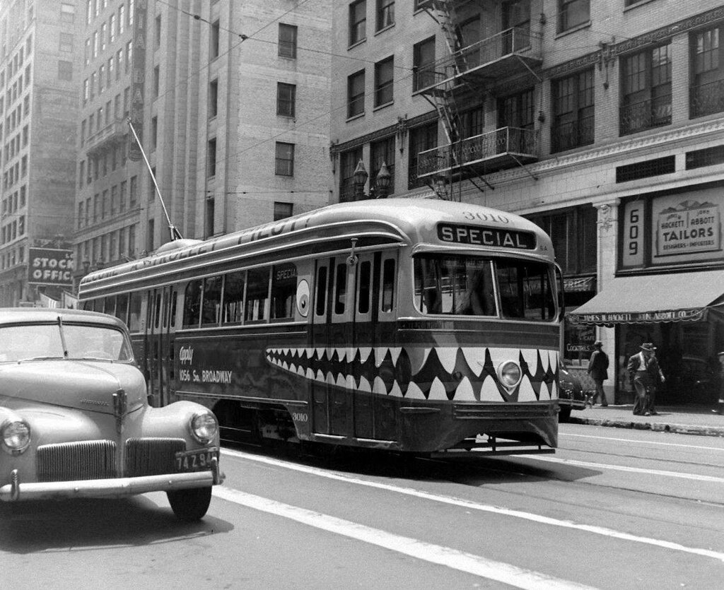 Labor Recruitment Campaign for the ~Home Front~ via a West Pico-Rimpau Line Tram in Los Angeles in 1944 - Wilkes Ack - LIFE