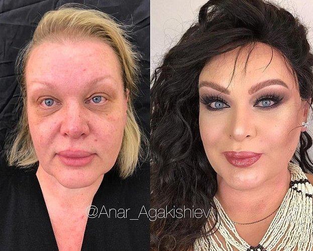 Поклонники Агакишиева утверждают, что созданные им макияж и прическа позволяют женщине сбросить, как