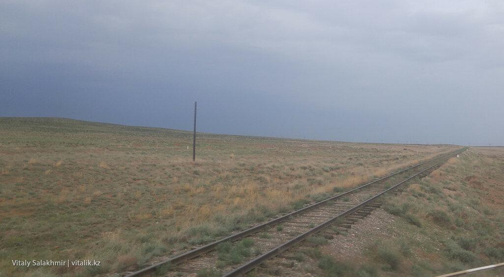 Рельсы поезда в степи.