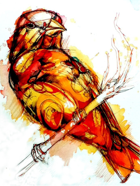 Ink, paint, and feathers - Abby Diamond