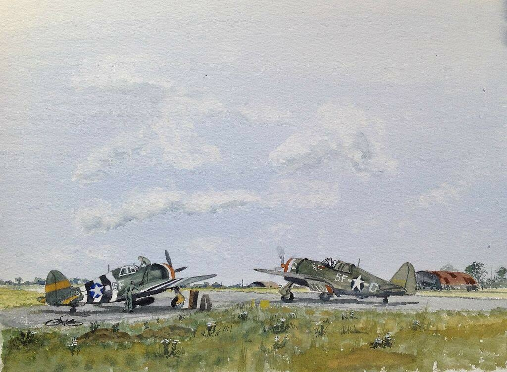 P47 Thunderbolts. Second one today, done from several ref pics in a book on the Eighth Air Force in colour.