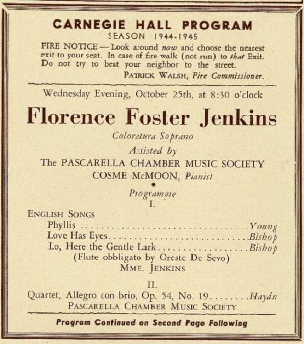 В 1912 году новоиспеченная оперная певица на собственные деньги организовала сольный концерт. Затем