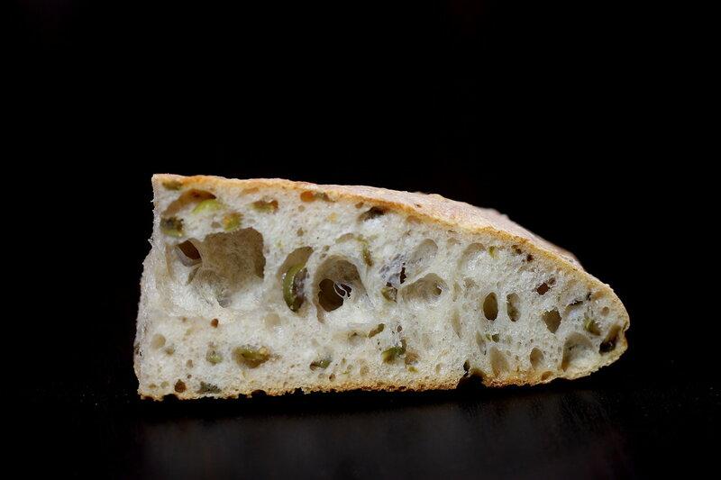 Лепешка с оливками на закваске методом старого теста