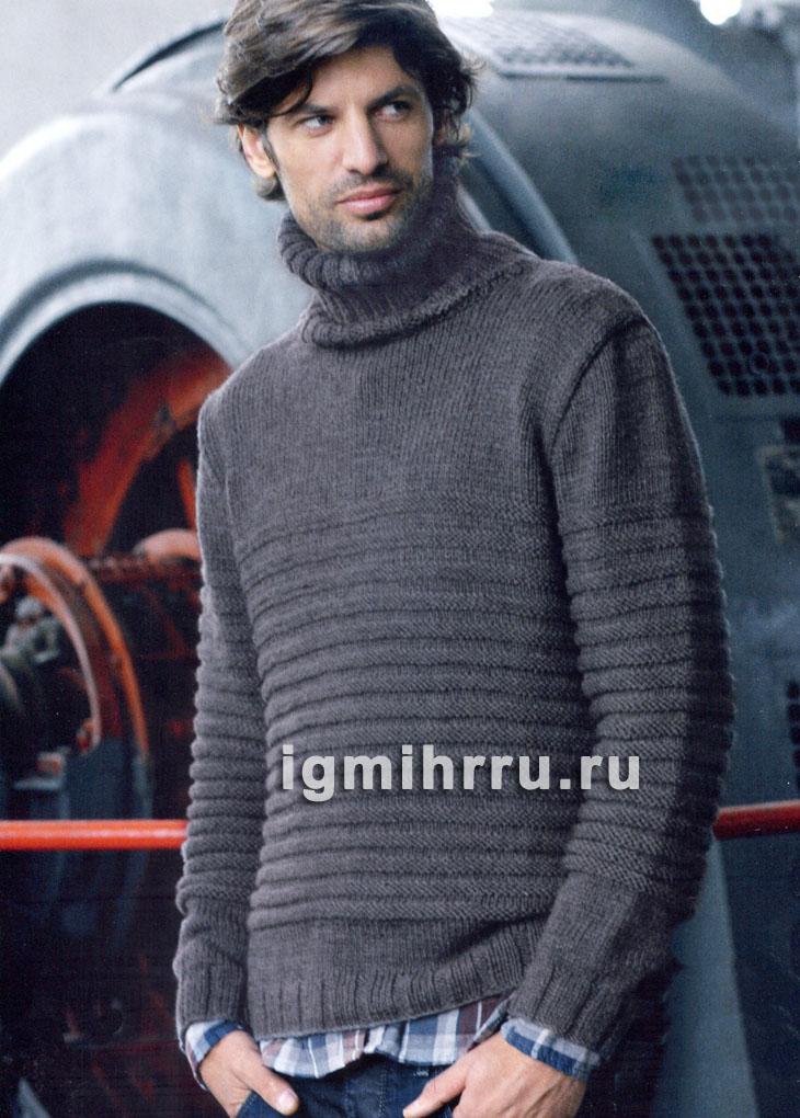Повседневный мужской свитер из поперечной резинки. Вязание спицами