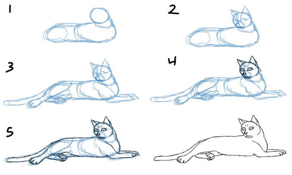 фото пример рисования лежащей кошки
