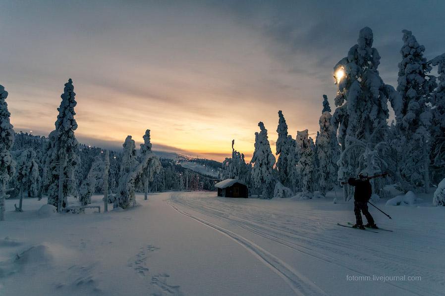 зима ЛАПЛАНДИЯ снегопад