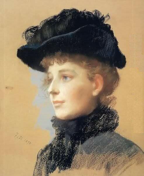 Frank Duveneck.Woman with a Black Hat