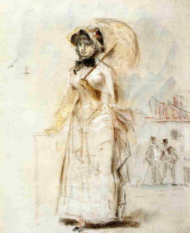 Édouard Manet - Femme en Promenade tenant une Ombrelle ouverte