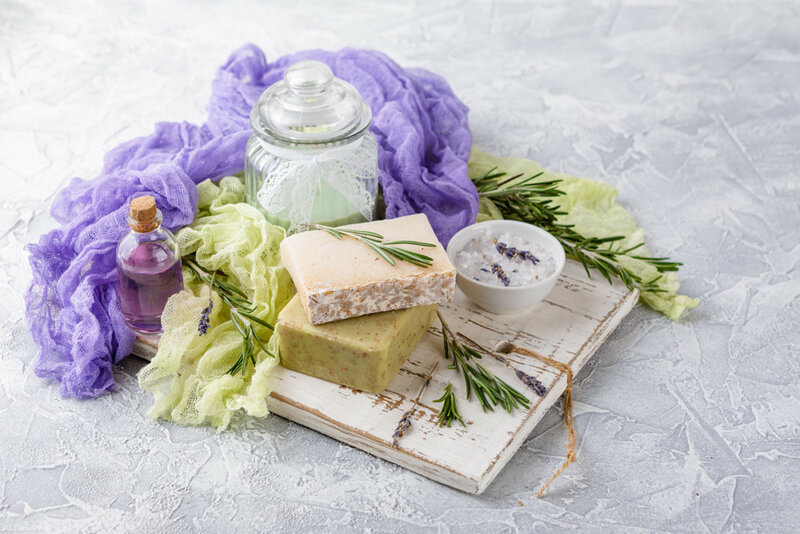 Piece of natural soap with rosemary.