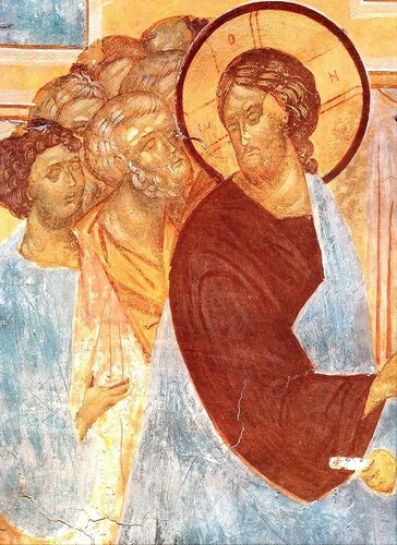 Лепта вдовицы. Фреска Дионисия в соборе Рождества Пресвятой Богородицы в Ферапонтовом монастыре. 1502 год.