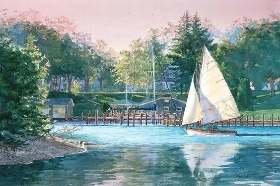 Я к тебе спешил, на лодке с парусами. Художница Kathleen Chaney Fritz