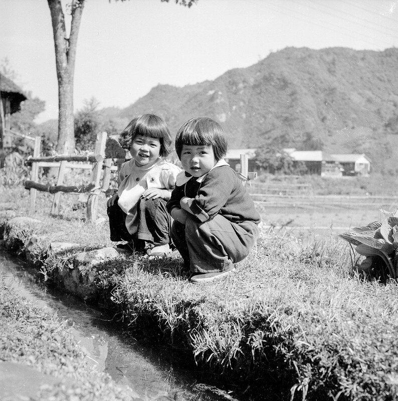 Japanese Children & Stream - 1950s Japan
