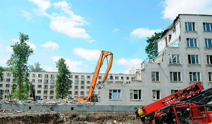 Снос и демонтаж пятиэтажных зданий в Москве