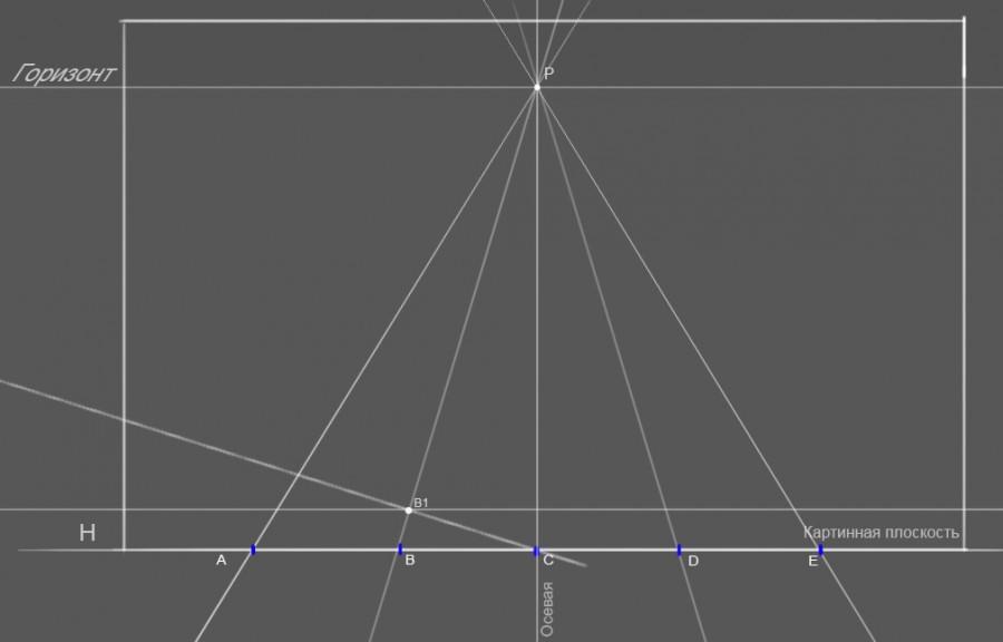 17. Полученная точка B1 отрезка BP является вершиной квадрата, отрезок B,B1 -стороной длинною 50см в