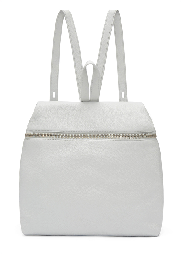 KARA Leather Backpack Structured pebbled leather backpackwith carry handle at top and adjustable sh