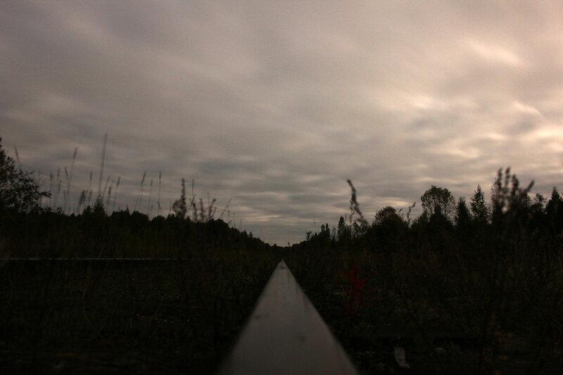 Ночь над экс-станцией Земцы-2, вид на Жарковский, перегон Земцы - Жарковский
