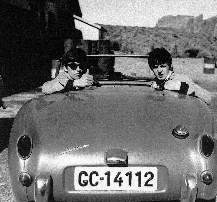 George and Paul in an Austin Healey Sprite.jpg
