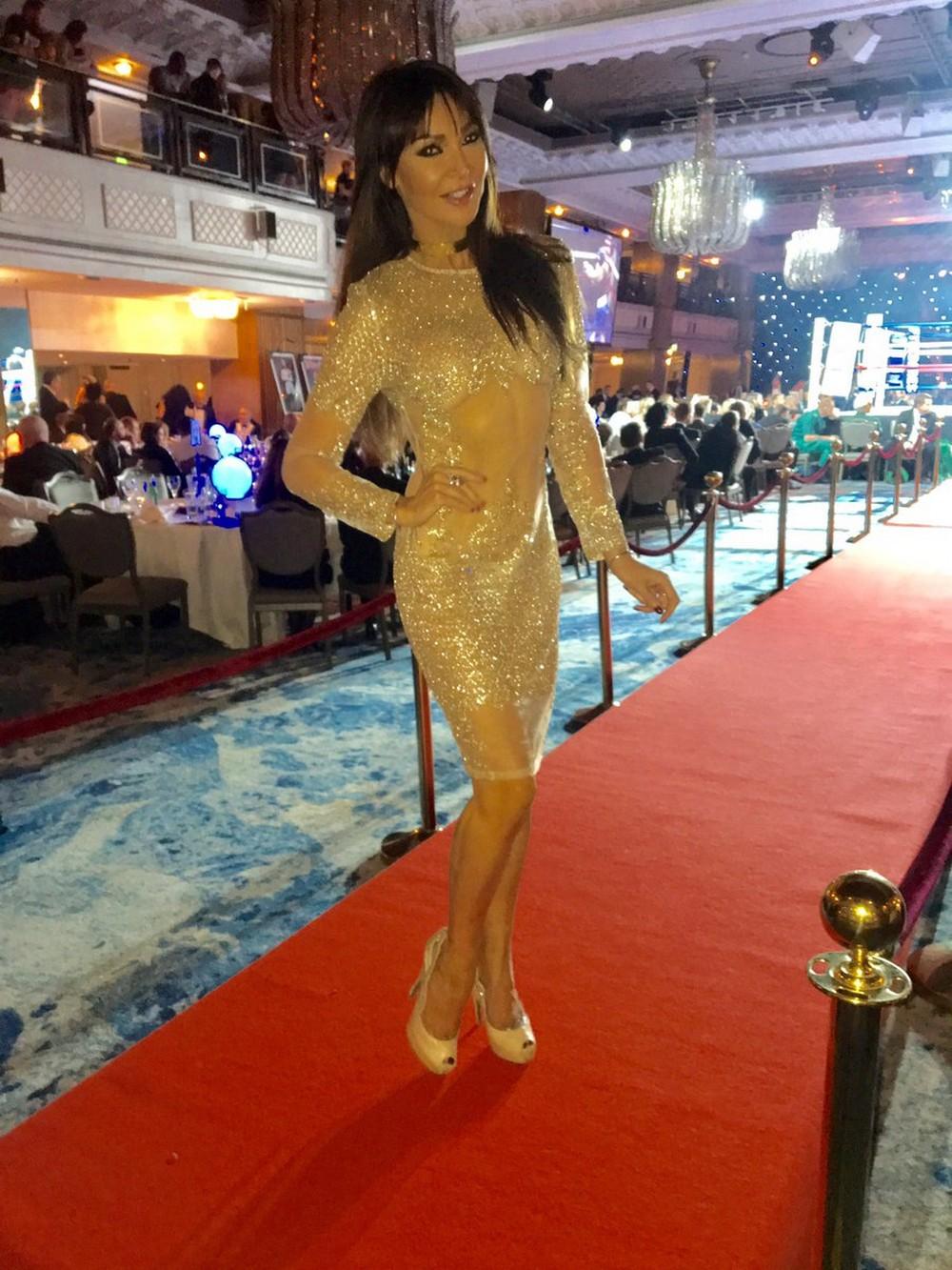 Лиззи Канди в просвечивающем платье