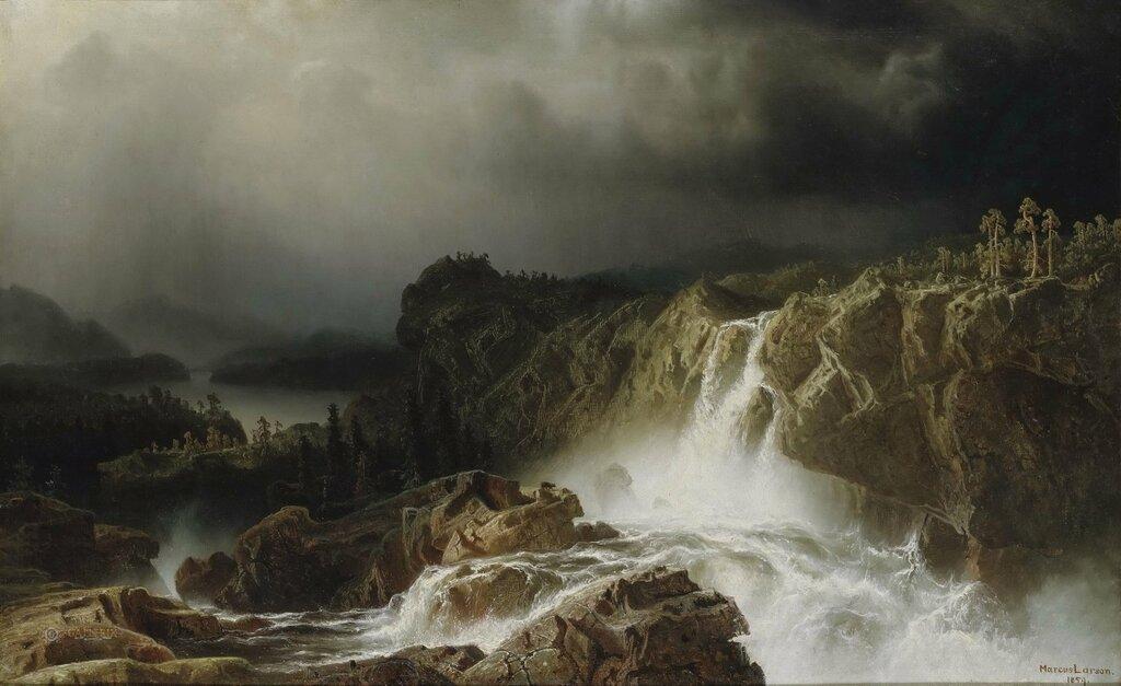 Скалистый пейзаж с водопадом