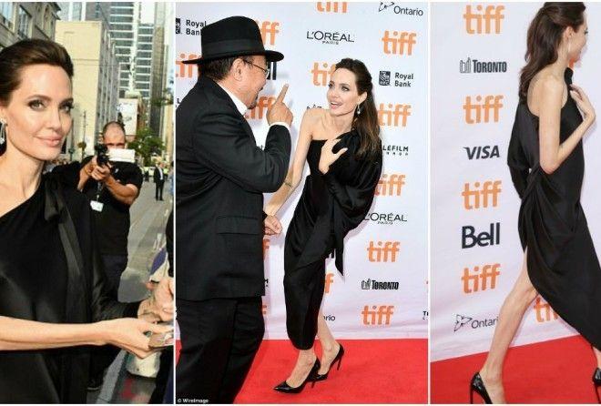 Для премьеры своего фильма про войну в Камбодже Анджелина Джоли выбрала атласное черное асимметрично