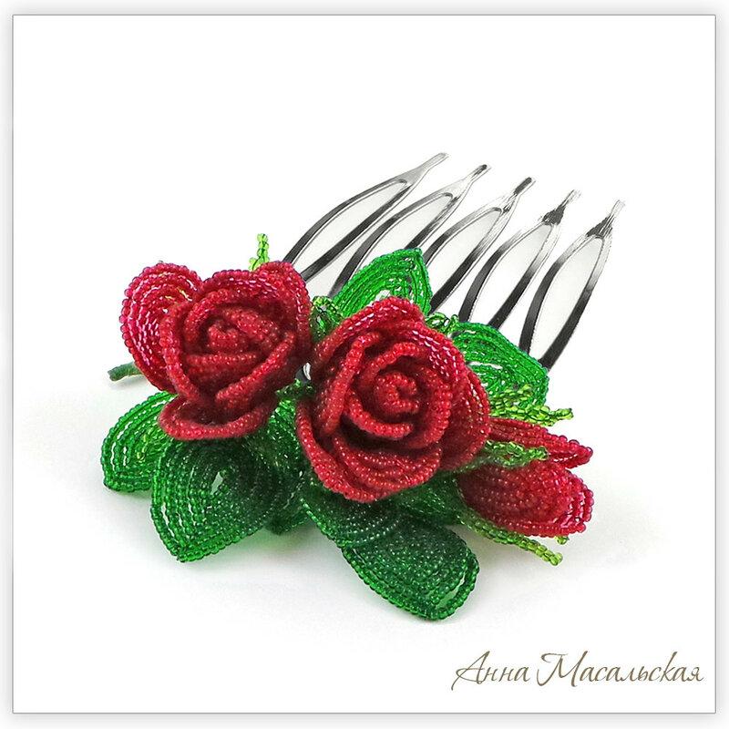 rozi zakolki dlya volos iz bisera
