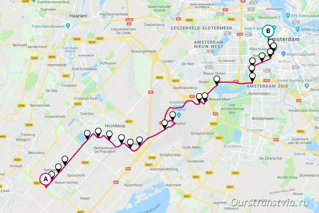 Схема движения автобуса 397 из аэропорта Схипхол в Амстердам
