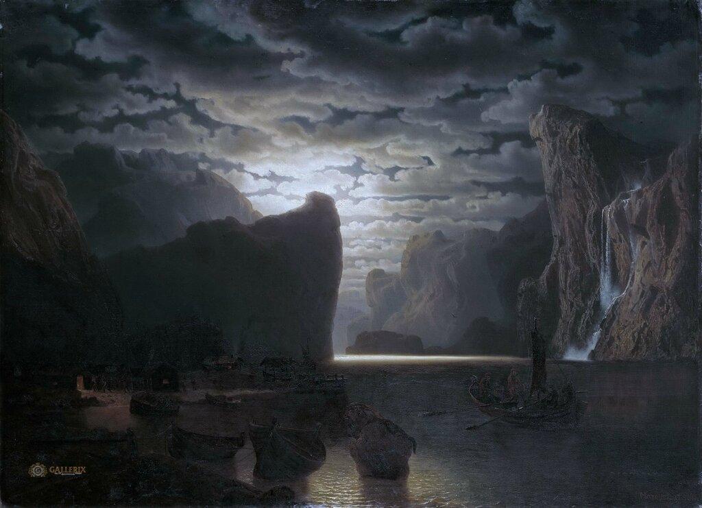 Норвежский фьорд в лунном свете. Мотив из Согне-фьорда