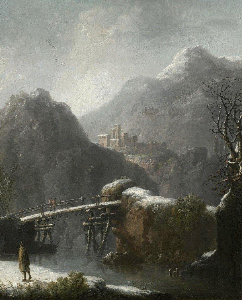 Зимний пейзаж с путешественниками перед мостом (A Winter Landscape With Travellers Before A Bridge) (атр)_52.5 х 42_х.,м._Частное собрание_обработано.jpg