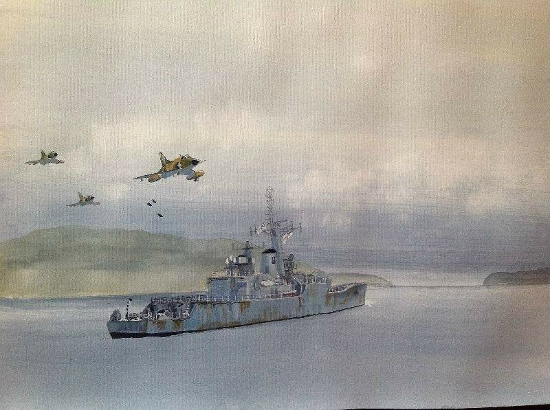 HMS PLYMOUTH under attack off Fanning Head San Carlos Water 6.6.1982. work in progress, quite a bit to do yet.